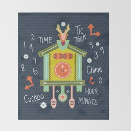 Tic Tock Cuckoo Clock Throw Blanket