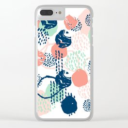 Abstract coral mint navy modern color palette basic canvas art for home Clear iPhone Case