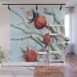 Rose Hips Abstract Watercolor Nature Wall Mural