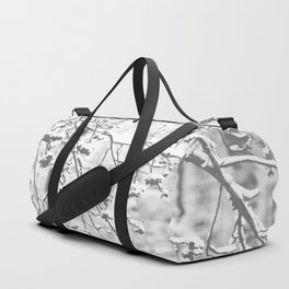 Cloudy Day In The Forest B&W Snowy Rowan Branches With Berries #decor #society6 #homedecor Duffle Bag