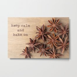 Keep Calm and Bake On Metal Print