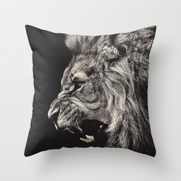 Angry Male Lion Throw Pillow