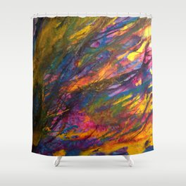 Sunset in the enchanted forest Shower Curtain