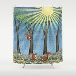 sunshine squirrels Shower Curtain