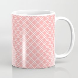 Back to School - Simple Diagonal Grid Pattern - White & Coral - Mix & Match with Simplicity of Life Coffee Mug