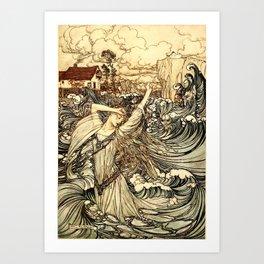 Arthur Rackham - Fouqué - Undine (1909) - Soon she was lost to sight in the Danube Art Print