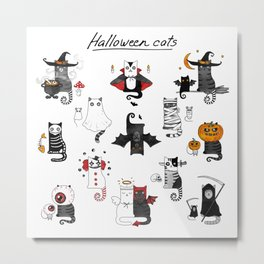 Halloween Cats In Terrible Imagery Metal Print