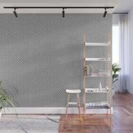 White and Gray Basket Weave, Mesh Line Pattern Wall Mural