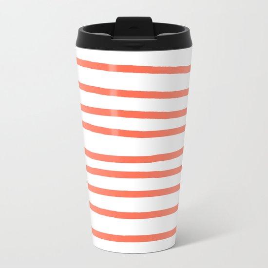 Simply Drawn Stripes in Deep Coral Metal Travel Mug