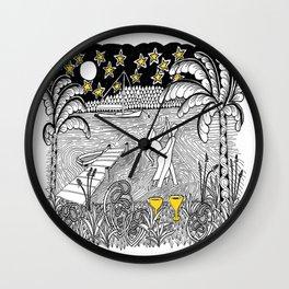 Beach Dancing under Stars Zentangle Style Wall Clock