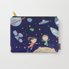 Space kids astronauts planets asteroids and spaceships Carry-All Pouch