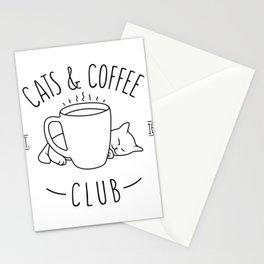 Cats and Coffee club Stationery Cards