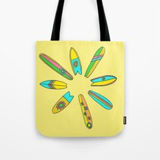 Retro Surfboard Flower Power Yellow Tote Bag