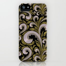 Intricate Victorian Scroll Pattern With Deep Purples and Greens iPhone Case