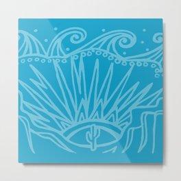 Saguaro Sunburst Blue Metal Print