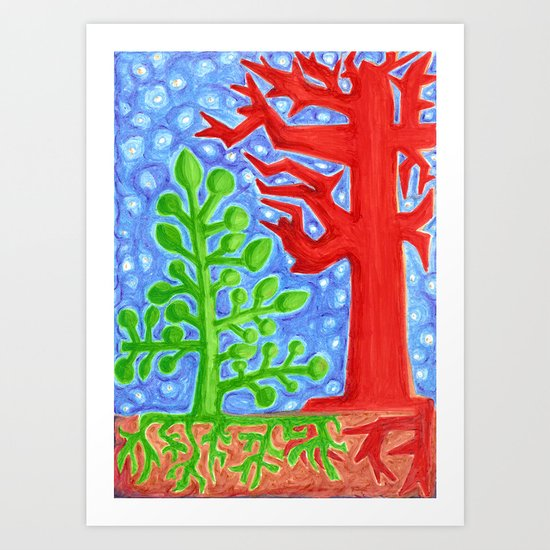 Night Falls -- Trees Revisited Art Print
