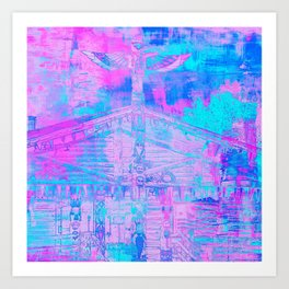 Totem Cabin Abstract - Hot Pink & Turquoise Art Print