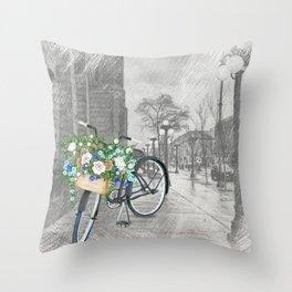 Black bike & street sketch Throw Pillow