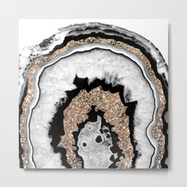 Gray Black White Agate with Gold Glitter #1a #gem #decor #art #society6 Metal Print