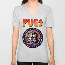 Kiss Pugs Lick and Roll Over Unisex V-Neck