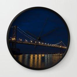 Bay Bridge at Night Wall Clock