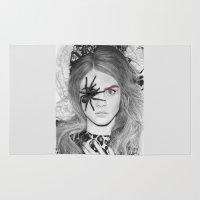 cara delevingne Area & Throw Rugs featuring cara Delevingne Spider by Aeriz85