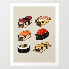 Sushi Pug Art Print