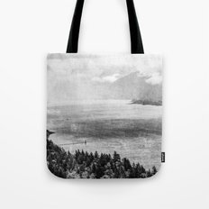 Forest River Water - Columbia River Gorge Cape Horn Black and White Photograph Tote Bag