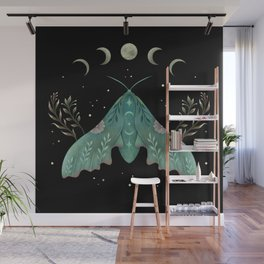 Luna and Moth - Midnight Black Wall Mural