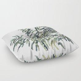 Woodland Fern Botanical Watercolor Illustration Painting Floor Pillow