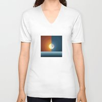sun and moon V-neck T-shirts featuring Sun & Moon by Angelina Fenty