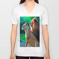 lions V-neck T-shirts featuring Loyal Lions by 13th Moon Social Club