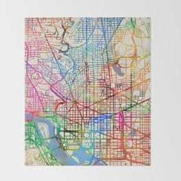 Washington DC Street Map Throw Blanket