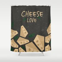 cheese Shower Curtains featuring CHEESE LOVE by Ceren Aksu Dikenci