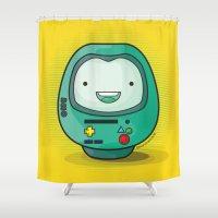 bmo Shower Curtains featuring Daruma: BMO by Monstruonauta