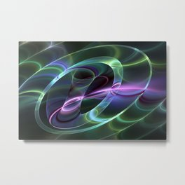 Fluorescent And Abstract, Fractal Art Metal Print