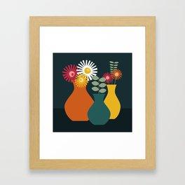 Flower Vases on Dark Background Framed Art Print