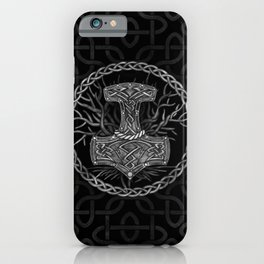 Mjolnir - The hammer of Thor and Tree of life iPhone Case