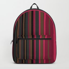 Multi-colored striped pattern in Magenta , black and brown tones . Backpack