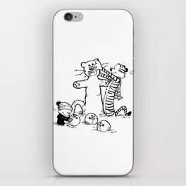 Calvin & Hobbes play snow man iPhone Skin
