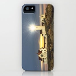 Full moon rising over Eastern point Lighthouse #2 iPhone Case