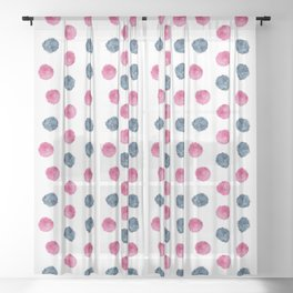 Pompom in Watercolor Pattern designed by #Mahsawatercolor Sheer Curtain