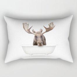 Moose in a Vintage Bathtub (c) Rectangular Pillow