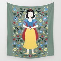 snow white Wall Tapestries featuring Snow White  by Carly Watts