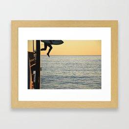 PIER JUMP Framed Art Print
