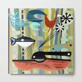 Mid Century Modern Fish Art Metal Print