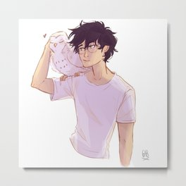 The boy with his owl Metal Print