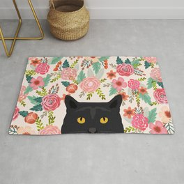 Black Cat cat breed floral pattern background pet gifts cats kitten mom gifts Rug