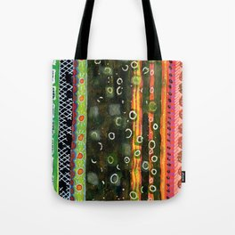 Absorbed Rings with Vertical Stripes Pattern Tote Bag