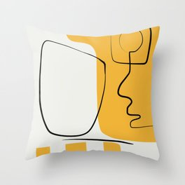 Line and abstraction in yellow Throw Pillow